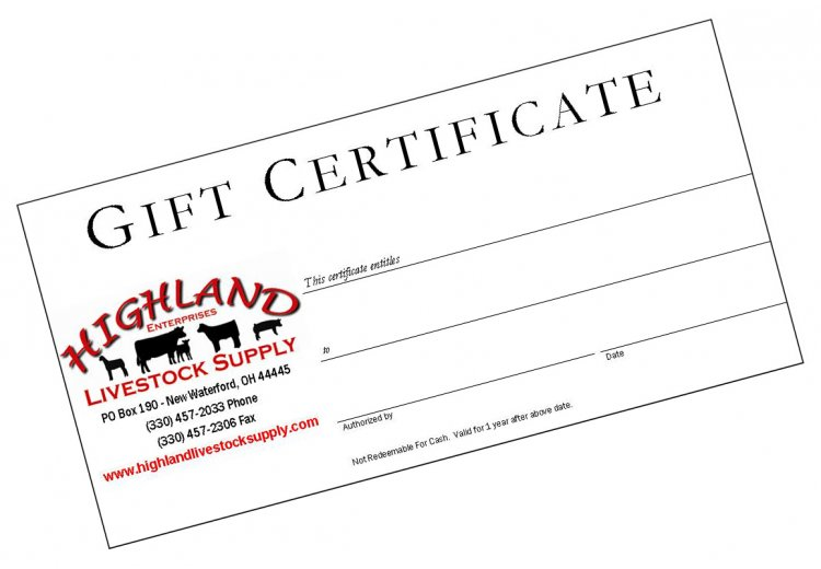 Highland Livestock Supply Gift Certificate - Click Image to Close